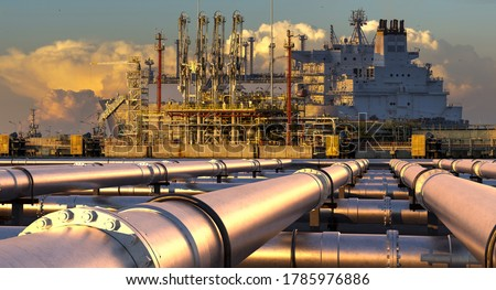 Pipelines leading the LNG terminal and the LNG tanker.3D illustration. Photo stock ©