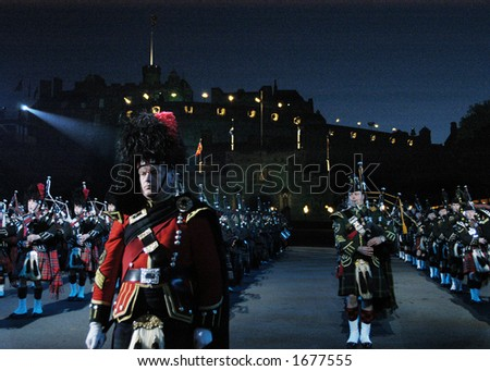 stock photo : Pipes and Drums at the Edinburgh Military Tattoo