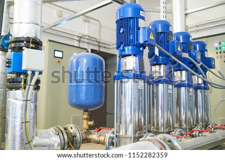 pipes and valve in water pump station