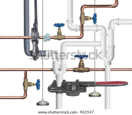 Pipes, faucets, joints and plumbing tools