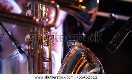 Pipes in the hands of musicians. Musicians playing wind instruments #755452612