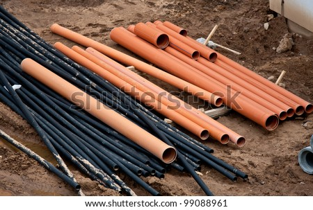 Pipes lying at construction site
