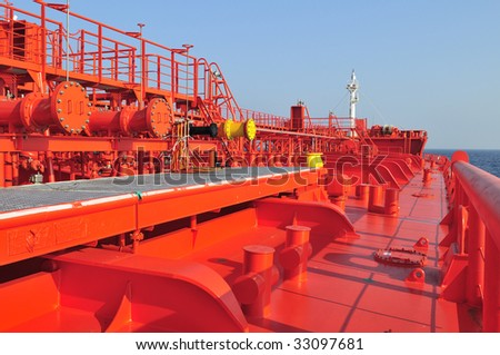 Pipes on the deck of the tanker crude oil ship