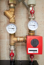 pipes with heat and pressure sensors of water supply