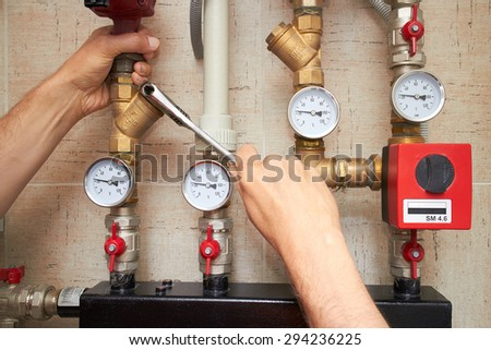 pipes with heat and pressure sensors, repair of water supply