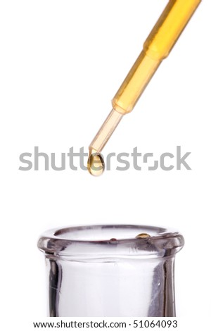 Pipette dropping liquid into a flask