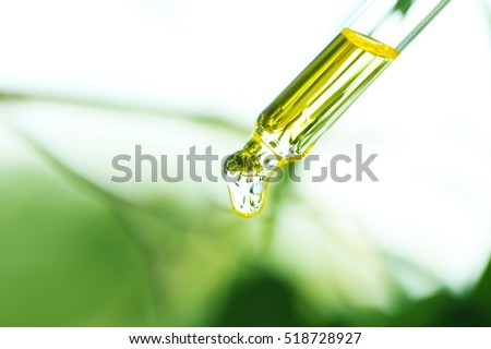 Pipette with essential liquid, closeup