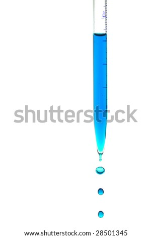 Pipette with falling drops of blue liquid isolated on white