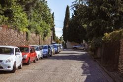 Piran Slovenia, beautiful open mediterranean street