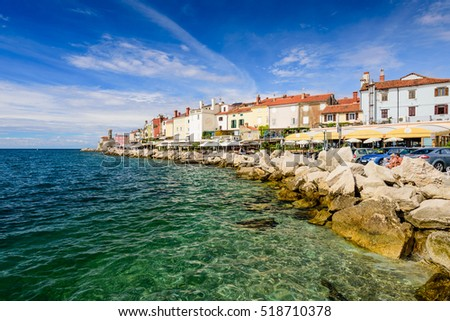 Piran, Slovenia - September 19, 2016: view on the coastline in Piran on a clear Sunny day. Piran is one of Slovenia's major tourist attractions.