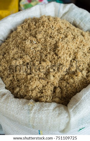 Shutterstock Pirarucu (Arapaima gigas), the biggest amazonian fish, dried, salted and shredded like flour (human and animal food), for sale in famous Ver-o-Peso public market