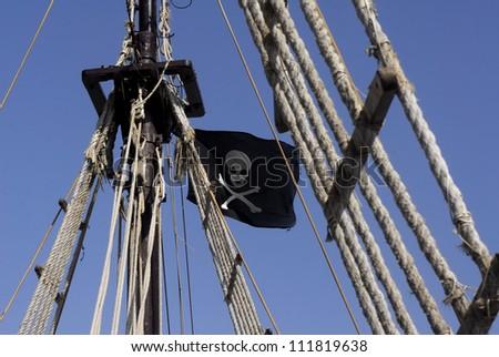 Pirata flag on pirate ship