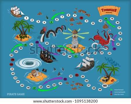 Stock Photo Pirate board game for children. Map of the treasure hunter. Corsair ship and sea monsters in isometric style. Chest of gold on tropical island
