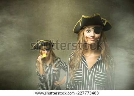 Stock Photo pirate effect after eating a chocolate doubloons