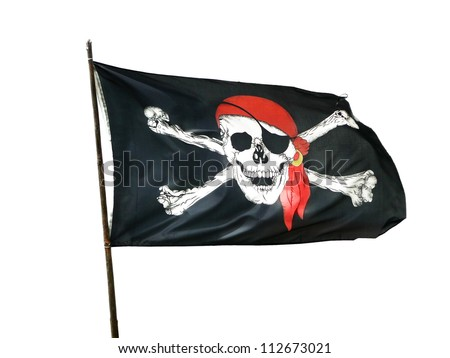 Pirate Flag, isolated - stock photo