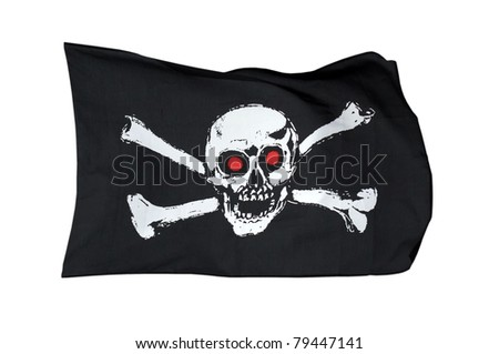 Pirate Flag, isolated on white background by clipping path