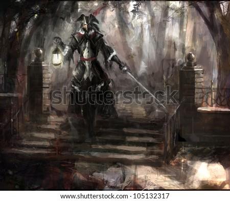 pirate general walking through forest
