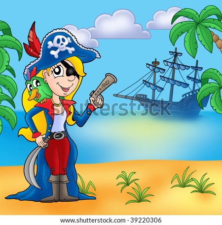 Pirate girl on beach 2 - color illustration.