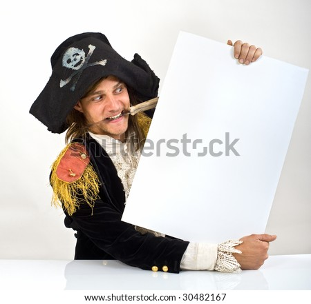 pirate holding a  blank sign with knife in mouth