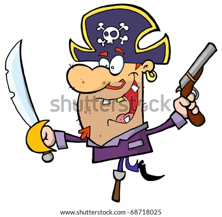 Pirate Holding Up A Sword And Pistol And Balancing On His Peg Leg