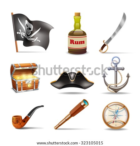 Pirate icons set colorful with jolly roger rum sabre treasure chest looking glass gold compass cocked hat anchor and pipe isolated  illustration