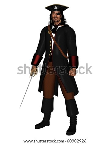 Pirate King in leather coat with hat and eye patch, 3d digitally rendered illustration - stock photo
