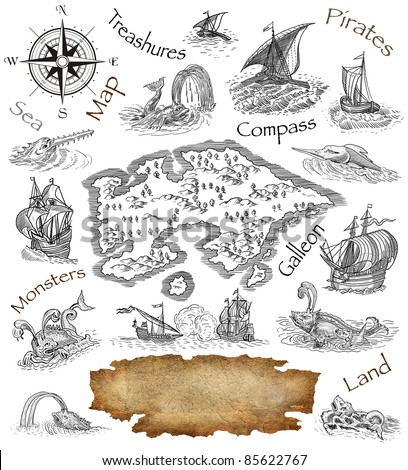 Pirate Map Symbols http://www.shutterstock.com/pic-85622767/stock-photo-pirate-map.html