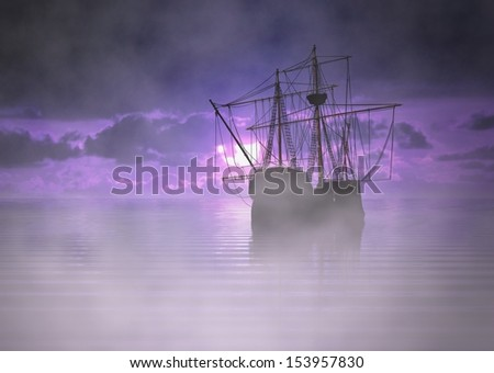 Pirate Ship at Sunrise with Fog
