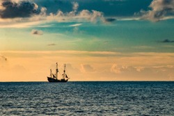 Pirate ship at sunset in Grand Cayman