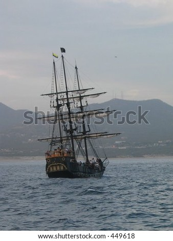 Pirate Ship Sailing Away