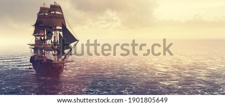 Pirate ship sailing on the ocean at sunset. Vintage cruise. 3D illustration Foto stock ©