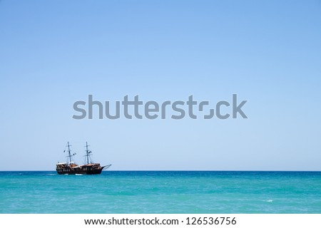 Pirate ship with tourists at sea in Rethymnon, Crete, Greece