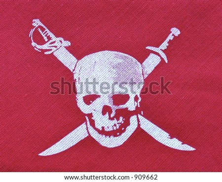 Stock Photo pirate skull on red