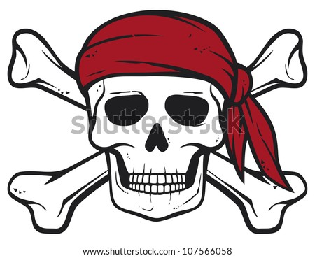 Pirates Logo Skull pirate skull  red bandana and