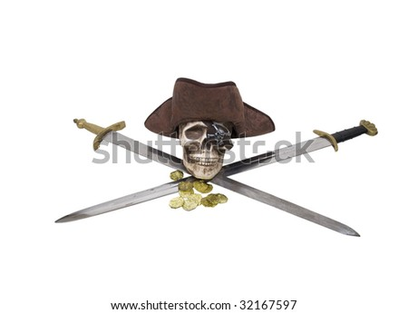 Pirate skull with treasure gold on a set of crossed swords - path included