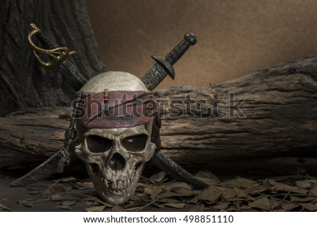 Pirate skull with two swords still life style