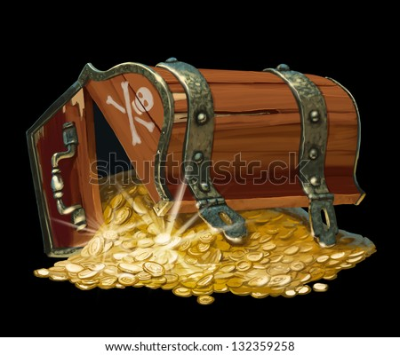 Pirate Treasure Chest Isolated On Black Background Stock