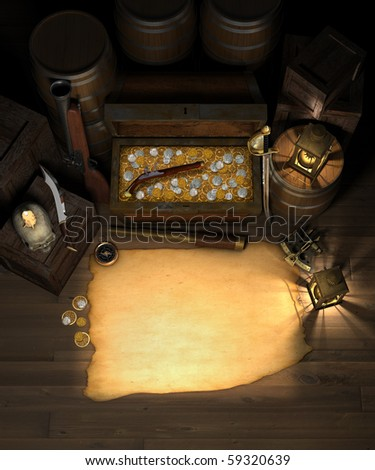 Pirate treasure in the hold of a pirate ship showing a treasure chest filled with gold and silver coins, amidst a treasure map with are for copy