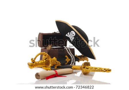Pirate treasure isolated on white