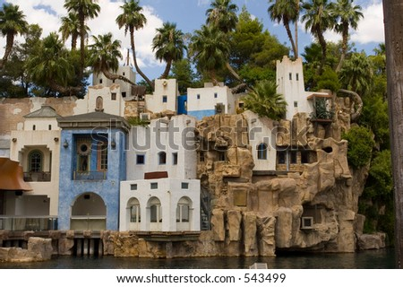 Pirate village in front of Treasure Island Hotel at Las Vegas Nevada exclusive at shutterstock