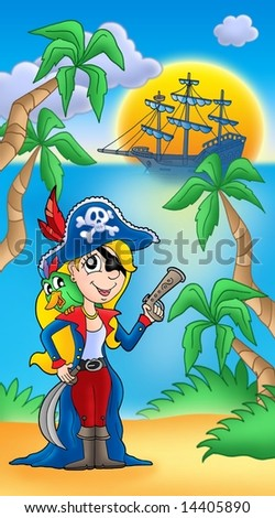 Pirate women with parrot and boat - color illustration.