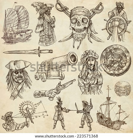 Pirates, Buccaneers and Sailors - Collection (no.2) of an hand drawn illustrations. Full sized hand drawn illustrations drawing on old paper.