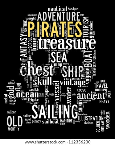 pirates info-text graphics composed in skull and bones shape concept on black background (word clouds)