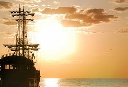 Pirates Ship at sea in horizontal