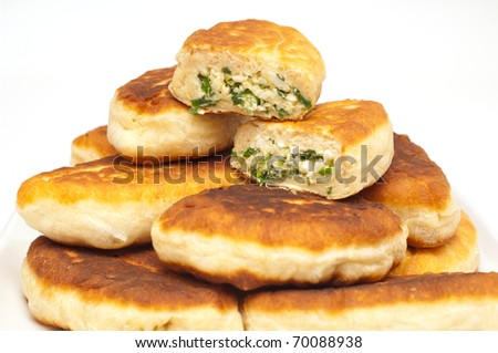 Pirojki. traditional Russian patty with eggs and onion
