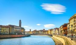 Pisa, Arno river, Ponte di Mezzo bridge. Lungarno view. Tuscany, Italy, Europe.