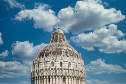 Pisa Baptistery in the cloudy day background