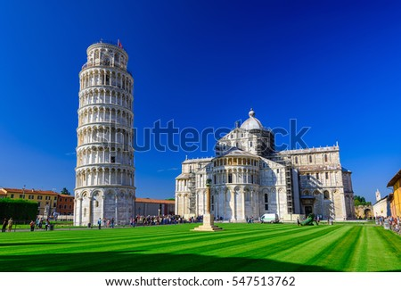 Pisa Cathedral (Duomo di Pisa) with the Leaning Tower of Pisa on Piazza dei Miracoli in Pisa, Tuscany, Italy Zdjęcia stock ©