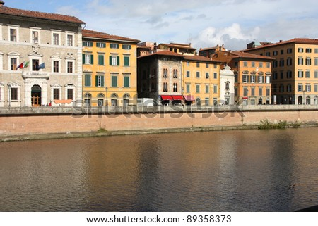 Pisa in Tuscany, Italy. Old architecture and river Arno.