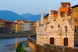 Pisa, Italy, evening landscape with river